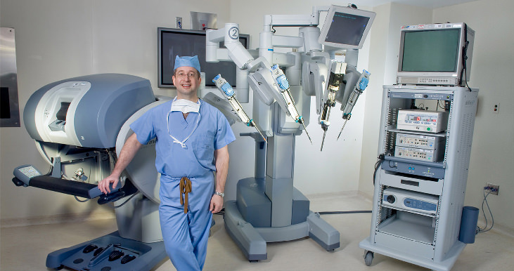 Scott miller in front of medical machines